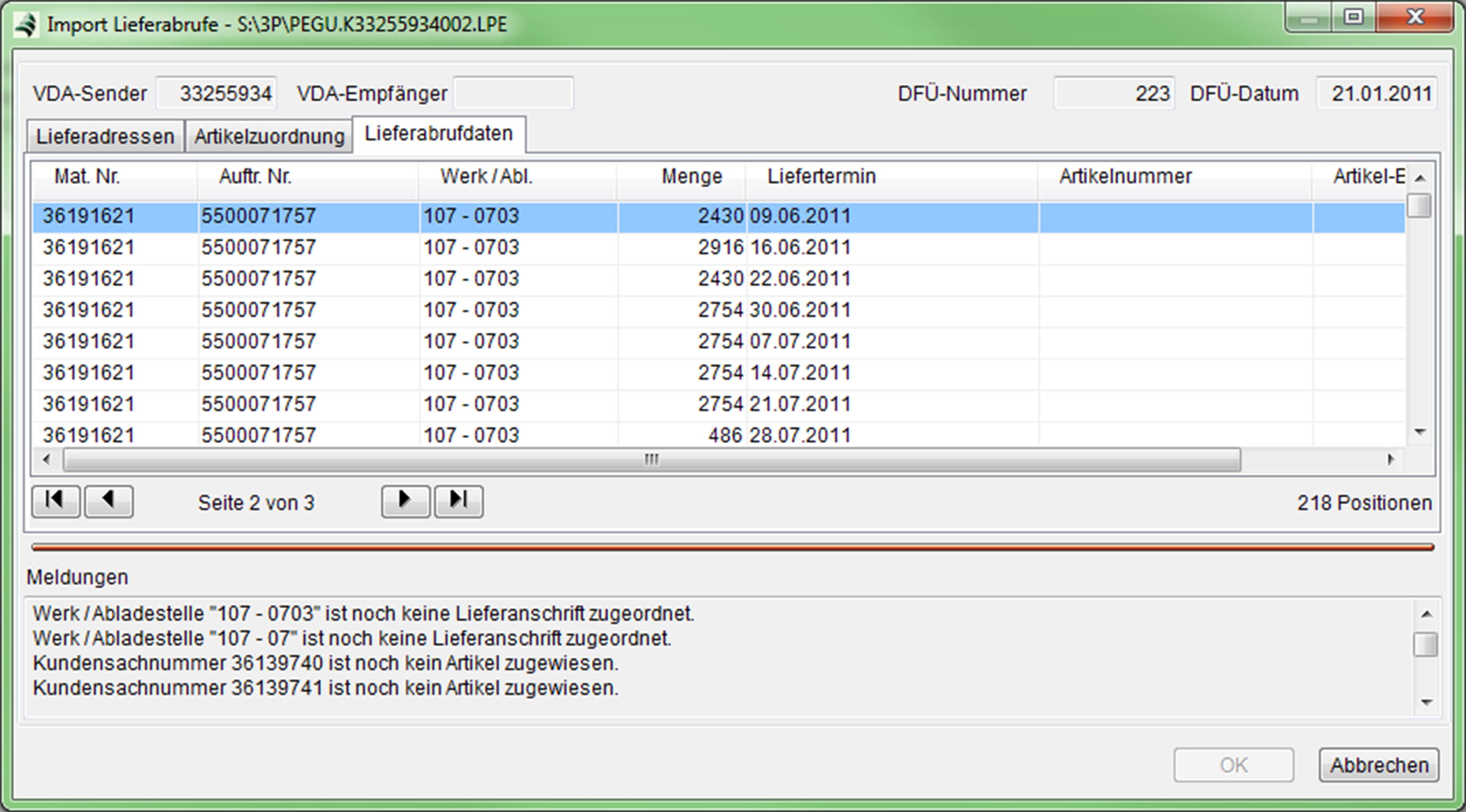 Import VDA-Lieferabrufe