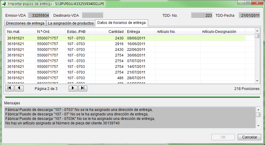 VDA import delivery deadlines