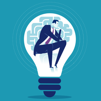 Creativity. Thinking manager sitting in the light bulb. Business concept vector illustration.