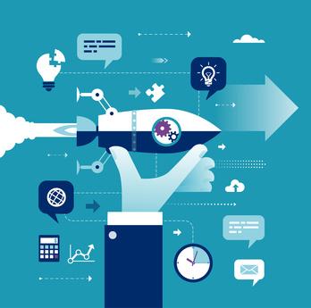 Start Up. Hand holding rocket. Concept business vector illustration